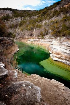 Blue Hole, Leakey, Texas - You can only get to this Blue Hole by staying overnight at Riding River Ranch, then hike or ride your mountain bike about a mile to it, take a steep set of stair down and traverse the stream several yards. Blue Hole, Oh The Places You'll Go, Places To Travel, Places To Visit, Camping Places, Travel Destinations, Leakey Texas, Dream Vacations, Vacation Spots