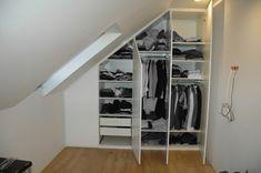 Zabudowa poddasza. Szafa pod skosem. Attic Wardrobe, Wardrobe Ideas, Attic Storage, Bedroom Loft, Diy Wall Art, Wardrobes, Closet, Bathroom, Home Decor