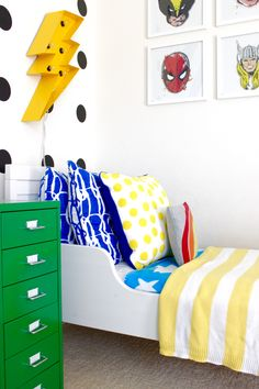 Colorful and Graphic Big Boy Room Modern Superhero Toddler Room