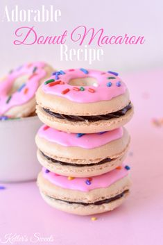 Donut Macaron Recipe - Welcome to our website, We hope you are satisfied with the content we offer. If there is a proble - French Macaroon Recipes, French Macaroons, French Macaron Flavors, Cute Desserts, Delicious Desserts, Yummy Food, Baking Recipes, Cookie Recipes, Dessert Recipes