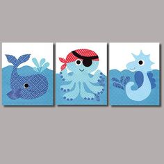 Nautical Pirate Nursery art prints baby nursery decor kids wall art children little boys room little boy green orange nursery artwork: