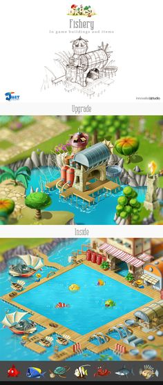 Fishery: In game buildings and items by Just Games, via Behance