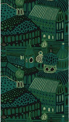 Designed by Katsuji Wakisaka 1971 Marimekko The return of an old favorite, Kumiseva features village houses and churches in 4 shades of green with black. photo shows 2 yards +. photo shows panel which is how this fabric is sold. 1 panel is wide and long. Design Textile, Textile Patterns, Textile Prints, Fabric Design, Pattern Design, Print Patterns, Floral Patterns, Surface Design, Modern Upholstery Fabric