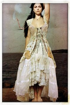 Shabby chic boho romantic Lacy layered distressed vintage dress.