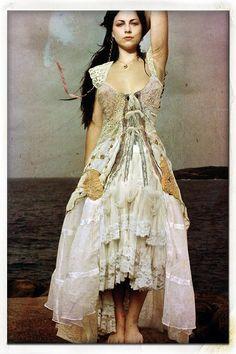 Shabby chic boho romantic Lacy layered distressed vintage dress.
