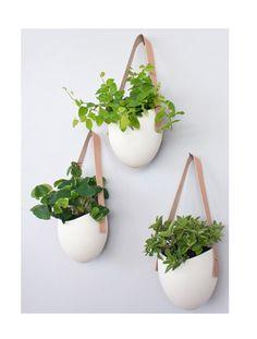Set Of 3 Porcelain + Leather Hanging Planters   Etsy Light And Ladder