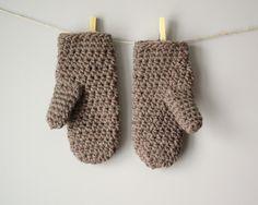mittens - hand-crochet wool + acrylic