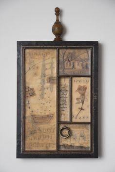 Assemblage art by Janet Eskridge Mixed Media Boxes, Tapas, Paint Brush Art, Box Art, Art Boxes, Found Object Art, Encaustic Art, Assemblage Art, Art Classroom