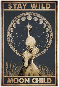 Stay Wild Moon Child, Culture Art, Illustration, Moon Art, Vintage Signs, Magick, Canvas Frame, Wall Art, Wall Decor