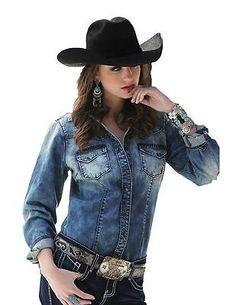 a9599224538 Cruel Girl Western Shirt Womens L S Denim Acid XXL Light CTW9327002 Country  Western Fashion