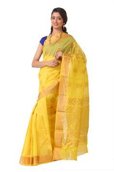 A customary choice would be this mesmerising yellow coloured cotton saree in chanderi with a heavy pallu and boota all over the saree. #southsarees #zarivastramsarees #sareelove #indianwear #desiwear #silk #sarees #fashion #shopping #indianfashion #saree #savetheweavers #saveartisans #India #zarivastram #iwearhandloom #handloomforfashion #handloomfornation