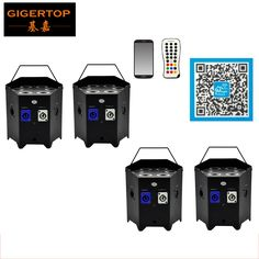 699.00$  Watch now - http://aliagm.worldwells.pw/go.php?t=32696088841 - Freeshipping 4 Pack 6X6W 6IN 1 Battery & Wireless DMX RGBWA Led Par Can Light TRUE 2.4G Wireless Transceiver Battery-operate