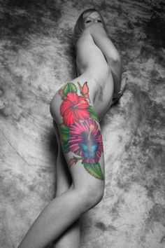 Hibiscus Flower Tattoo Design On Her Hip.  Sexy... both the ink and the babe...