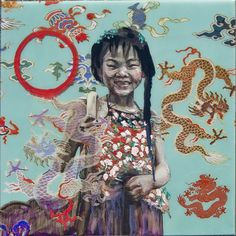 "Hung Liu- ""Year of the Dragon"" 2012, mixed media on panel, 20.5 x 20.5"""