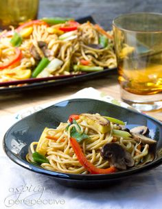 Vegetable Lo Mein.  Super yummy recipe,  I added shrimp to mine, or you could add chicken