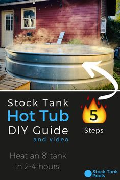 How-to: Turn your stock tank pool into a HOT TUB (in 5 easy steps) 🛁🙌 If you already have a stock tank pool, consider adding a HOT TUB kit 🛁 for the winter! Backyard Projects, Outdoor Projects, Backyard Patio, Backyard With Hot Tub, Stock Pools, Stock Tank Pool, Stock Tank Heater, Sauna Hammam, Piscine Diy