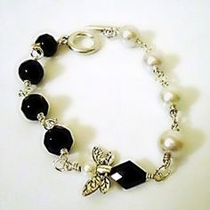 Black and White Bracelet Silver Jewelry Pearl Jewellery by cdjali, $20.00