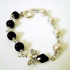 Black and White Bracelet Silver Jewelry Pearl Jewellery by cdjali, $20.00