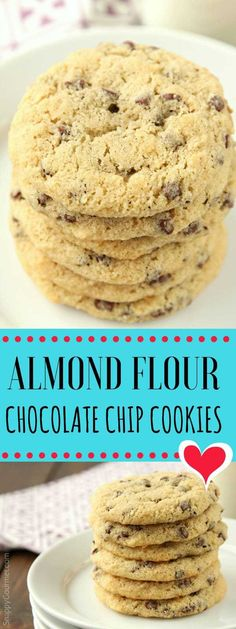 Almond Flour Chocolate Chip Cookies Recipe - easy lower carb and gluten free almond flour cookies #glutenfreerecipes #chocolatechipcookies #cookie #SnappyGourmet #recipe #dessert #yummy #cookie