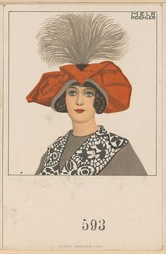 1912 Mela Koehler hat fashion illustration, published by Wiener Werkstätte. The Met, colour lithograph, Museum Accession, transferred from the Library. Female Images, Female Art, Illustration Artists, Metropolitan Museum, Illustrations Posters, Fashion Illustrations, Vintage Images, Illustrators, Art Deco