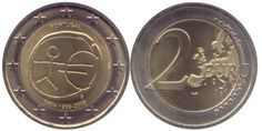 Portugal, 2 Euro, 2009, European Monetary Union, 10th Anniversary, UNC