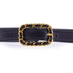 Chanel Pre-Owned: Vintage Black Leather Gold Buckle Skinny Belt ($254) ❤ liked on Polyvore featuring accessories, belts, black, genuine leather belt, vintage belt, real leather belts, chanel and skinny belt