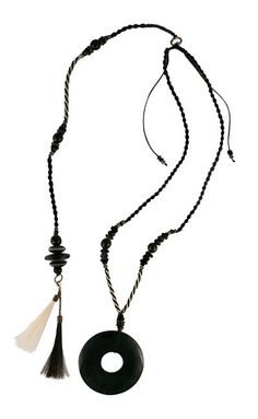 Tribal Black Posture Reminder Necklace Tassel Necklace, Pendant Necklace, Artisan, Beads, Handmade, Collections, Jewelry, Products, Beading