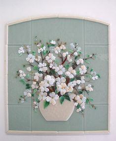 Fused Glass Dogwood Floral Kitchen Backsplash Designer Glass Mosaics Designer Glass Mosaics