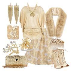 """""""Shimmer And Shine In Gold And White"""" by yournightnurse ❤ liked on Polyvore featuring Chi Chi, Gianvito Rossi, Betsey Johnson, Miss Selfridge, Miriam Haskell, Sole Society, Luli Fama, Kenneth Jay Lane and David Yurman"""