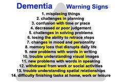 A bunch of things to know about dementia Various warning signs as they progress for a person facing dementia and possibly leading to alzheimers disease. Lewy Body Dementia, Vascular Dementia, Alzheimer's And Dementia, Dementia Quotes, Dementia Signs, Dementia Facts, Understanding Dementia, Dementia Activities, School