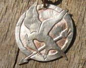 MockingJay Necklace made from a U.S. Quarter. Hunger Games Acid Etched Coin Pendant.