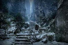 Prachov Rocks (Path to High Hrothgar), Czech Republic  (or Skyrim)