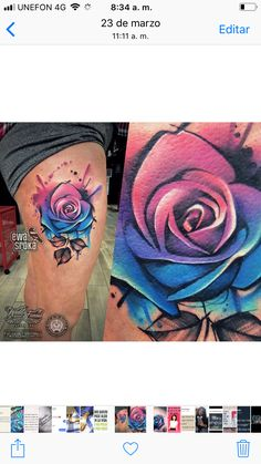 Tatto That Are Better Than Girly Tattoos, Wicked Tattoos, Body Art Tattoos, Sleeve Tattoos, Upper Thigh Tattoos, Floral Thigh Tattoos, Flower Tattoos, Colorful Rose Tattoos, Blue Rose Tattoos