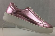 8f4ebb649de4 Free People Womens Pink Leather Metallic Letterman Lace Up Sneakers US 9 EU  39  FreePeople