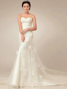 $262.89 Graceful A-Line Lace Sweetheart Court Train Wedding Dresses #Cheap #wedding #dresses #