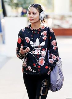 Floral Adidas Hoodie. Urban Fashion. Swag. Dope. Sporty. Urban Outfit. Hip Hop Style. Vanessa Hudgens Style #hiphopoutfits