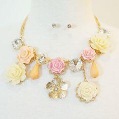 3D Rose Flower Blossom Necklace & Earrings Set