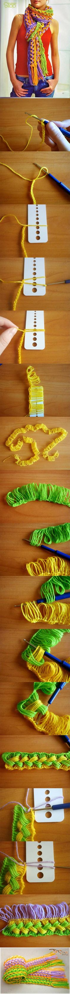 Don't click the link, it's spammy, but the photos in the pin are pretty self explanatory - DIY Hook Custom Scarf