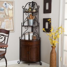 Corner Bakers Rack With Wrought Iron Frame U0026 Wood Storage Shelves