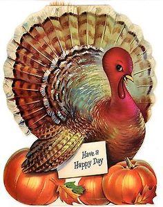 Large Norcross Vintage Die Cut Thanksgiving Greeting Card Turkey 661