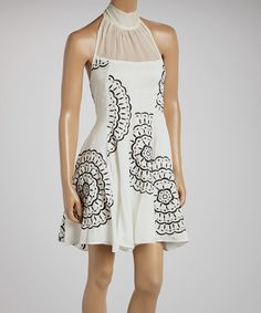 Look what I found on #zulily! Ivory & Black Floral Halter Dress by Ryu #zulilyfinds