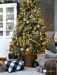 Black and White Mixed Plaid Christmas Tree MichaelsMakers By Stephanie Lynn