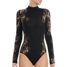 I.D. Sarrieri Noir Comme La Robe Long-Sleeve Lace Bodysuit ($595) ❤ liked on Polyvore featuring intimates, shapewear and black