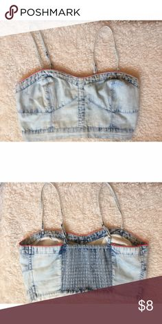 """Denim Crop Top Light """"denim"""" crop top. Adjustable straps. Elastic/stretchy back. Size small can also fit a medium. No sign of use, only worn once. American Eagle Outfitters Tops Crop Tops"""