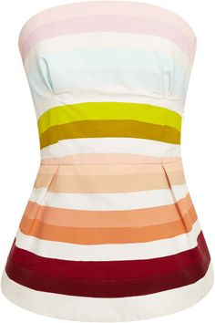 Rosie Assoulin Multicolor Hand Painted Cottonfaille Peplum Top. lyst.com