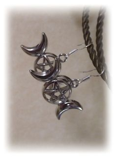 Triple Moon Goddess Pagan Earrings on 925 by BrighidsJewellery, £6.99