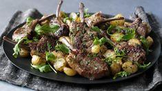 Nigella - Lamb cutlets with mint, chilli and golden potatoes recipe - BBC Food Lamb Recipes, Cooking Recipes, Cooking Food, Bbc Recipes, Grilling Recipes, Diet Recipes, Golden Potato Recipes, Lamb Cutlets Recipe, Easy Dinner Party Recipes
