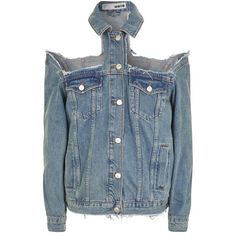 Topshop Moto Extreme Cold Shoulder Jacket ($69) ❤ liked on Polyvore featuring outerwear, jackets, topshop, cotton jacket, cotton jean jacket, jean jacket, denim jacket and distressed denim jacket