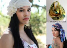 """Laurie's beautiful turbans make women feel beautiful even when life experiences are not so pleasant: https://www.etsy.com/shop/TurbanDiva  """"When I lost my hair during chemo I designed turbans and head wraps to look like I was wearing a fabulous accessory, not just trying to hide my hair loss. They attracted tons of compliments, and made me feel glamorous at a time when I most needed to lift my spirits."""""""