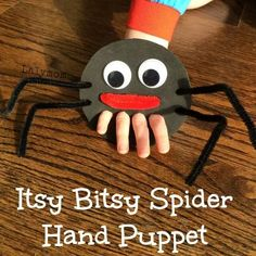 A fun fine motor craft introducing the Itsy Bitsy Spider Finger Puppet. This puppet is sure to get your little one's hands moving! Kids love to sing the Itsy Bitsy Spider song and adding this puppet to the mix will build excitement and loads of fun! Rhyming Preschool, Rhyming Activities, Preschool Crafts, Learning Activities, Senses Preschool, Childcare Activities, Health Activities, Preschool Learning, Educational Activities
